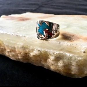 Crushed Turquoise Coral Silver Eagle Ring Boho 70s
